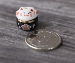 Mini Fortune Cat Porcelain Figurines - Black