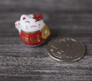 "Mini Fortune Cat Figurine - Red ( "" Zhao Cai"" )"