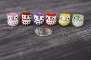 Mini Owl Porcelain Figurines