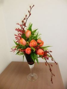 S shaped flower arrangement