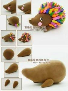 clay art clay figurines - hedgehog