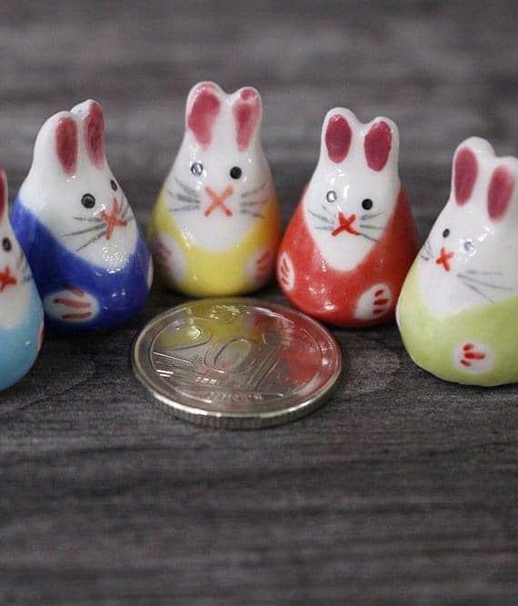 Mini Figurines Mini Rabbit Porcelain Figurines April 2021
